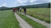 mehre Fahrradfaherinnnen von hinten die über ein Feldfahren