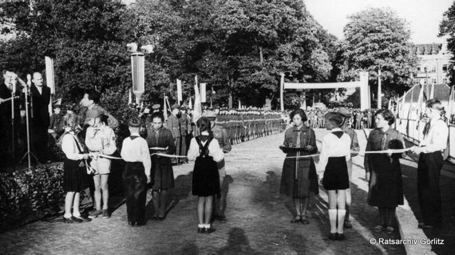 Die Eröffnung des Grenzübergangs Görlitz-Zgorzelec 1958.