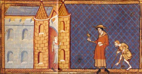 Darstellung aus dem 12. Jahrhundert - Ein Leprakranker und ein Verkrüppelter vor einem Tor