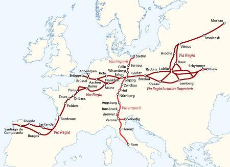 Die VIA REGIA als Kette von Pilgerwegen durch Europa.