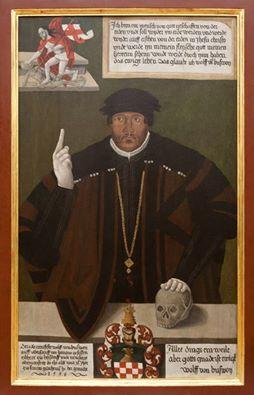 Wolf von Busewoy (1509-1563) war ein einflussreicher Förderer der Reformation im Herzogtum Liegnitz. Sein Porträt enthält ein Glaubensbekenntnis im Sinne der Lehre Martin Luthers.