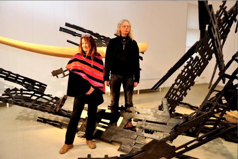 Anja Harms und Eberhard Müller‐Fries bei der Vernissage in der Kunststation am 19.02.2017