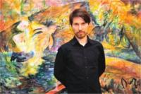 Lukas Bleuel vor einem seiner Aquarelle aus der Ausstellung Points of View